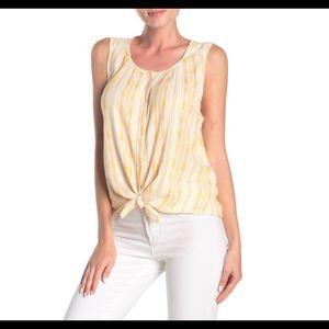 Lucky Brand Sz L Striped Sleeveless High Low Shirt